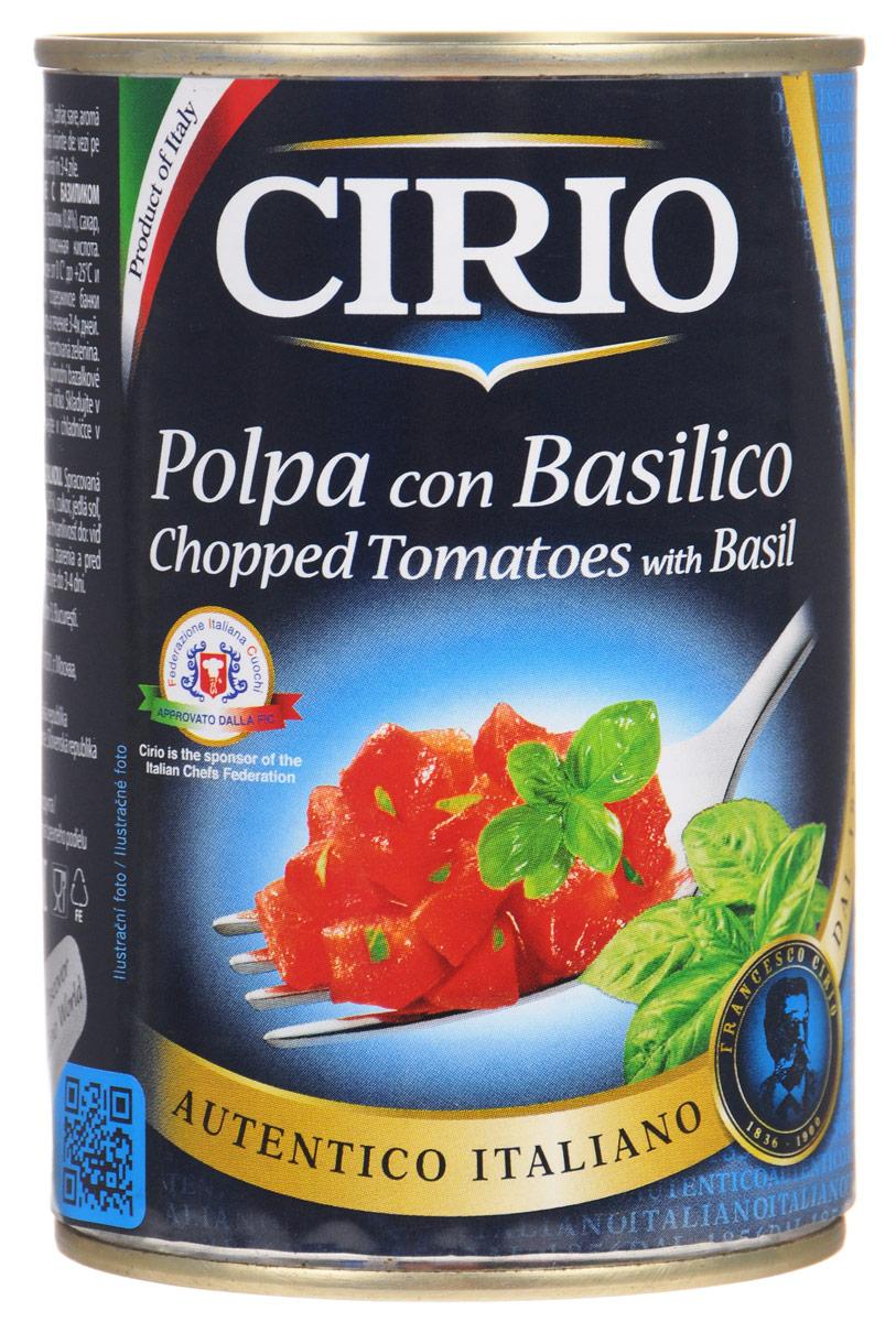 Cirio Chopped Tomatoes With Basil томаты резаные очищенные с базиликом, 400 г