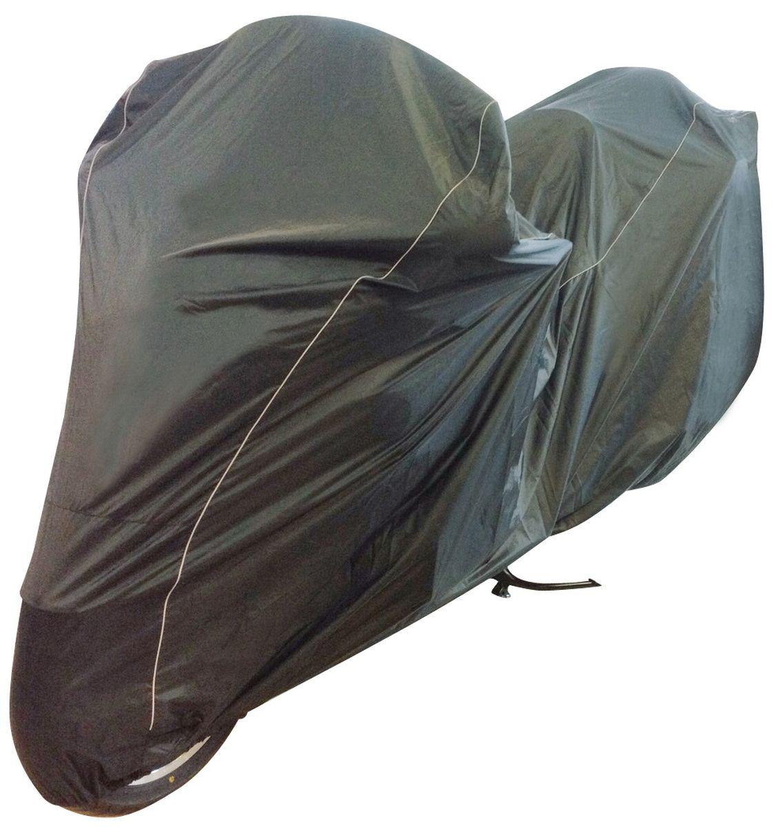 Чехол для мотоцикла Starks Luxury TourerЛЦ0026Водостойкий чехол Starks Luxury Tourer выполнен из прочного полиэстера. Имеется светоотражающий кант, обеспечивающий безопасности в темное время суток. Изделие выдерживает температуру до +200°С. Резинки по краям фиксируют чехол на колесе. Стропа посередине фиксирует по центру мотоцикла. Внутри чехол имеет блестящую поверхность. Не позволяет нагревать технику на солнце, отражает солнечные лучи. Отсутствует эффект термоса. В комплекте сумочка для транспортировки и хранения.