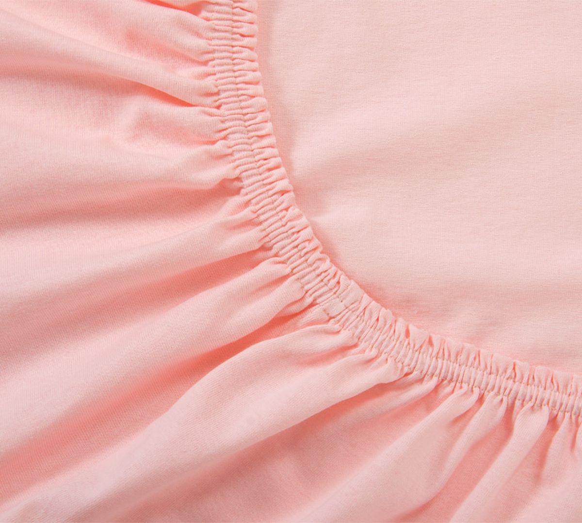 "Простыня ""Текс-Дизайн"", трикотаж, на резинке, цвет: розовый, 160 х 200 х 20 см. Р013Т"
