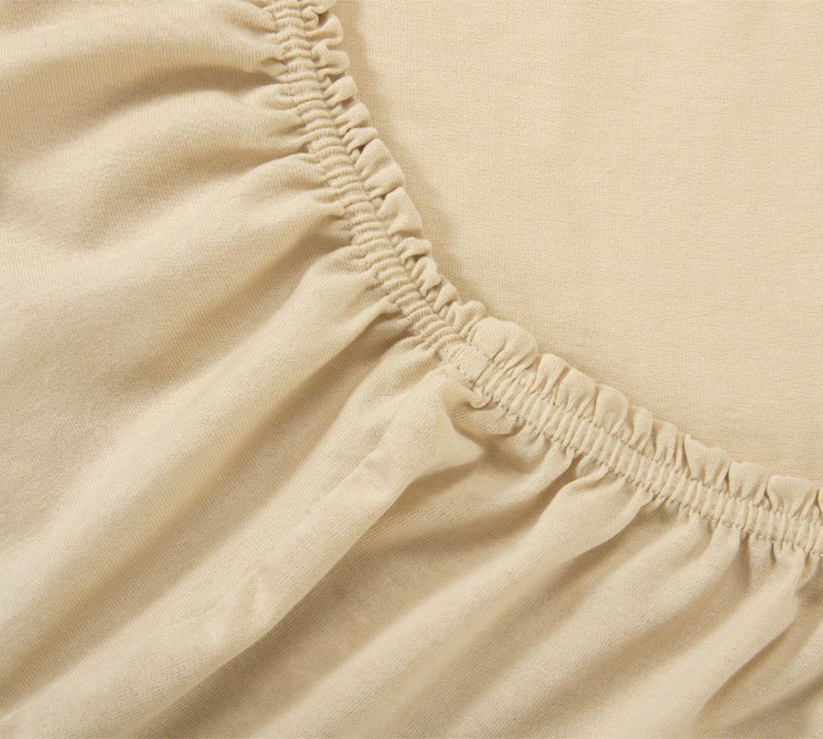Простыня на резинке Текс-Дизайн, цвет: бежевый, 180 х 200 х 20 смР014ТПростыня Текс-Дизайн изготовлена из трикотажа высокого качества, состоящего на 100% из хлопка. По всему периметру простыня снабжена резинкой, что обеспечивает комфортный отдых, и избавляет от неприятных ощущений скомкавшейся во время сна изделия. Простыня легко одевается на матрасы высотой до 20 см. Идеально подходит в качестве наматрасника.Трикотаж эластичен и растяжим, практически не мнется и не теряет форму после стирки. И кроме того он очень красиво выглядит и приятен на ощупь.
