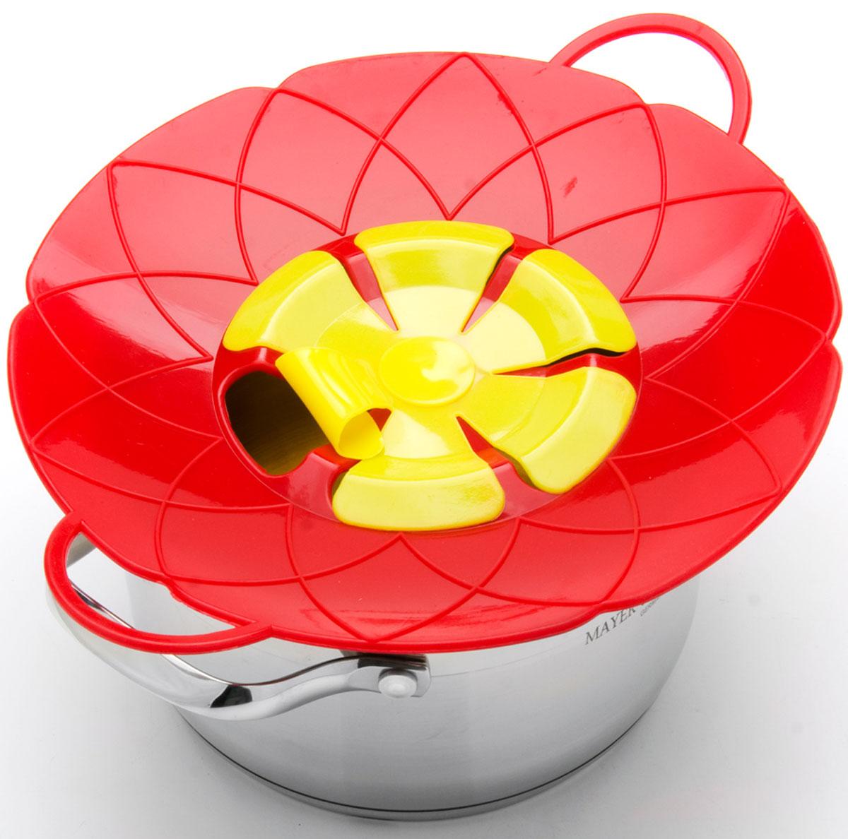 Крышка-невыкипайка Mayer & Boch, цвет: красный, желтый, диаметр 25 см24256-2Силиконовая крышка 2 в 1 (невыкипайка и пароварка) изготовлена из силикона высокого качества. Не теряет форму от высоких температур. Крышка-невыкипайка предотвращает выкипание и брызги. Изделие значительно облегчит приготовление пищи. При хранении в прохладных местах - крышка обеспечит свежесть продуктов. При использовании крышки в микроволновой печи масло не разбрызгивается.Диаметр крышки: 25 см.