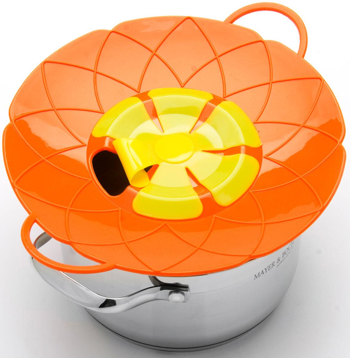 Крышка-невыкипайка Mayer & Boch, цвет: оранжевый, желтый, диаметр 25 см24256-3Силиконовая крышка 2 в 1 (невыкипайка и пароварка) изготовлена из силикона высокого качества. Не теряет форму от высоких температур. Крышка-невыкипайка предотвращает выкипание и брызги. Изделие значительно облегчит приготовление пищи. При хранении в прохладных местах крышка обеспечит свежесть продуктов. При использовании крышки в микроволновой печи, масло не разбрызгивается.Диаметр крышки: 25 см.