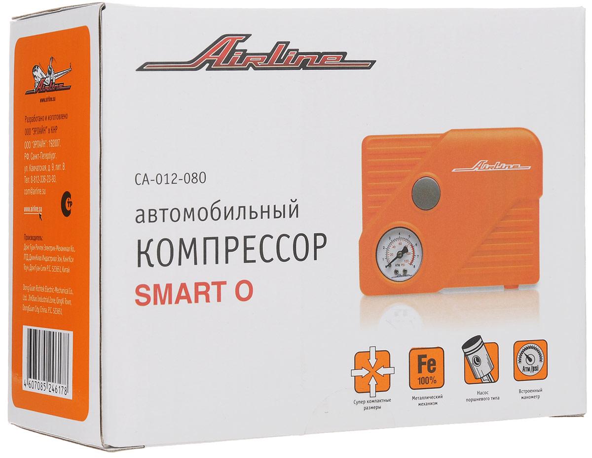 """Автомобильный компрессор Airline Smart O. CA-012-08OCA-012-08OУльтра маленький компрессор со светодиодным фонариком. Компрессор имеет удлиненный цилиндр и поршень, что позволяет прокачивать внушительный объем воздуха – 12 л/мин для столь миниатюрного изделия. Компрессор Airline подключается к штуцеры и висит """"на колесе"""", пока стрелка манометра не покажет нужное давление. Компрессор не занимает много места и легко помещается в бардачке автомобиля. При этом цена на данное изделие самая низкая в модельном ряде компрессоров Airline. Рекомендуется использовать для накачивания колес радиусом до R15.Комплектация:Поршневой компрессор высокого давления с манометром;Переходники-насадки - 3 шт;Сумка для хранения и переноски с логотипом Airline;Инструкция по применению;Гарантийный талон. Характеристики:Время накачивания колеса R14 от 0 до 2 Атм: 8 мин. Тип фонаря: светодиодный. Размеры устройства (Д х Ш х В): 11 см х 10 см х 5 см. Размер упаковки (Д х Ш х В): 13 см х 5,5 см х 13 см. Изготовитель:Китай."""