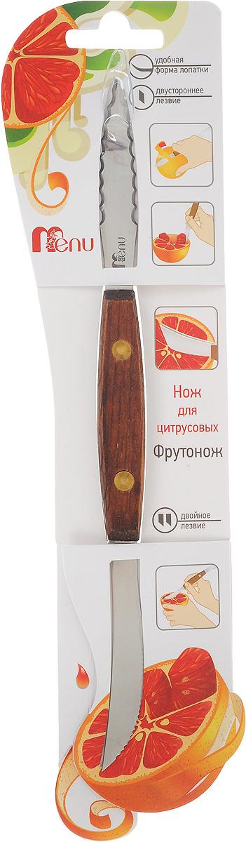 Нож для цитрусовых Menu Фрутонож, длина 20,5 смFRN-01Нож для цитрусовых Menu Фрутонож выполнен из нержавеющей стали и дерева. Такой инструмент необходим на каждой современной кухне. С одной стороны, нож имеет загнутое лезвие для быстрого и легкого очищения цитрусовых фруктов от кожуры. С другой стороны он имеет двойное зубчатое лезвие, которое позволяет аккуратно отделить мякоть фрукта от мембран, а затем достать ее. При использовании двойного лезвия для извлечения мякоти не очищайте фрукт предварительно, просто разрежьте его пополам. Не рекомендуется мыть в посудомоечной машине.Общая длина ножа: 20,5 см.Длина двойного лезвия: 6,5 см.Длина загнутого лезвия: 6 см.