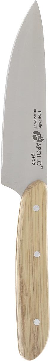 Нож кухонный Apollo Woodstock, длина лезвия 13 смWDK-02Кухонный нож Apollo Woodstock изготовлен из высококачественной нержавеющей стали. Лезвие такого ножа остается острым очень долгое время, оно заточено и сформировано для максимально эффективного использования. Рукоятка, выполненная из натурального дерева, пропитана специальными водоотталкивающими смолами. Такой нож подойдет для нарезки любых овощей, мяса без костей, рыбы и других продуктов. Нож Apollo Woodstock станет прекрасным дополнением к коллекции ваших кухонных аксессуаров и не займет много места при хранении. Рекомендуется мыть в ручную.Общая длина ножа: 25,5 см.Длина лезвия: 13 см.