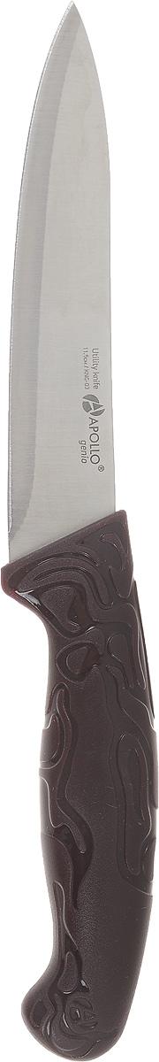 Нож универсальный Apollo King, длина лезвия 11,5 смKNG-03Универсальный нож Apollo King предназначендля нарезки различных продуктов. Лезвие выполнено из высококачественной нержавеющей стали. Эргономичная рукоятка с рельефным узором, выполненная из пластика, не скользит в руках и делает нарезку удобной и безопасной. Благодаря уникальной формуле стали и качеству ее обработки, лезвие имеет высокий показатель твердости, что позволяет ему долго сохранять острую заточку. Нож Apollo King идеально шинкует, нарезает и измельчает продукты. Он займет достойное место среди аксессуаров на вашей кухне.Не рекомендуется мыть в посудомоечной машине.Длина ножа: 11,5 см.Толщина лезвия: 1 мм.