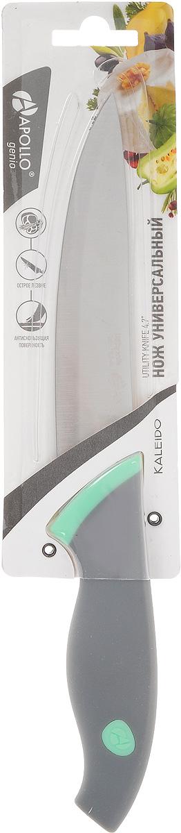 Нож универсальный Apollo Kaleido, длина лезвия 12 смKLD-04Универсальный нож Apollo Kaleido предназначендля нарезки различных продуктов. Лезвие выполнено из высококачественной нержавеющей стали. Эргономичная рукоятка, выполненная из пищевого пластика, не скользит в руках и делает нарезку удобной и безопасной. Благодаря уникальной формуле стали и качеству ее обработки, лезвие имеет высокий показатель твердости, что позволяет ему долго сохранять острую заточку. Нож Apollo Kaleido идеально шинкует, нарезает и измельчает продукты. Он займет достойное место среди аксессуаров на вашей кухне.Общая длина ножа: 24 см.Толщина лезвия: 1 мм.