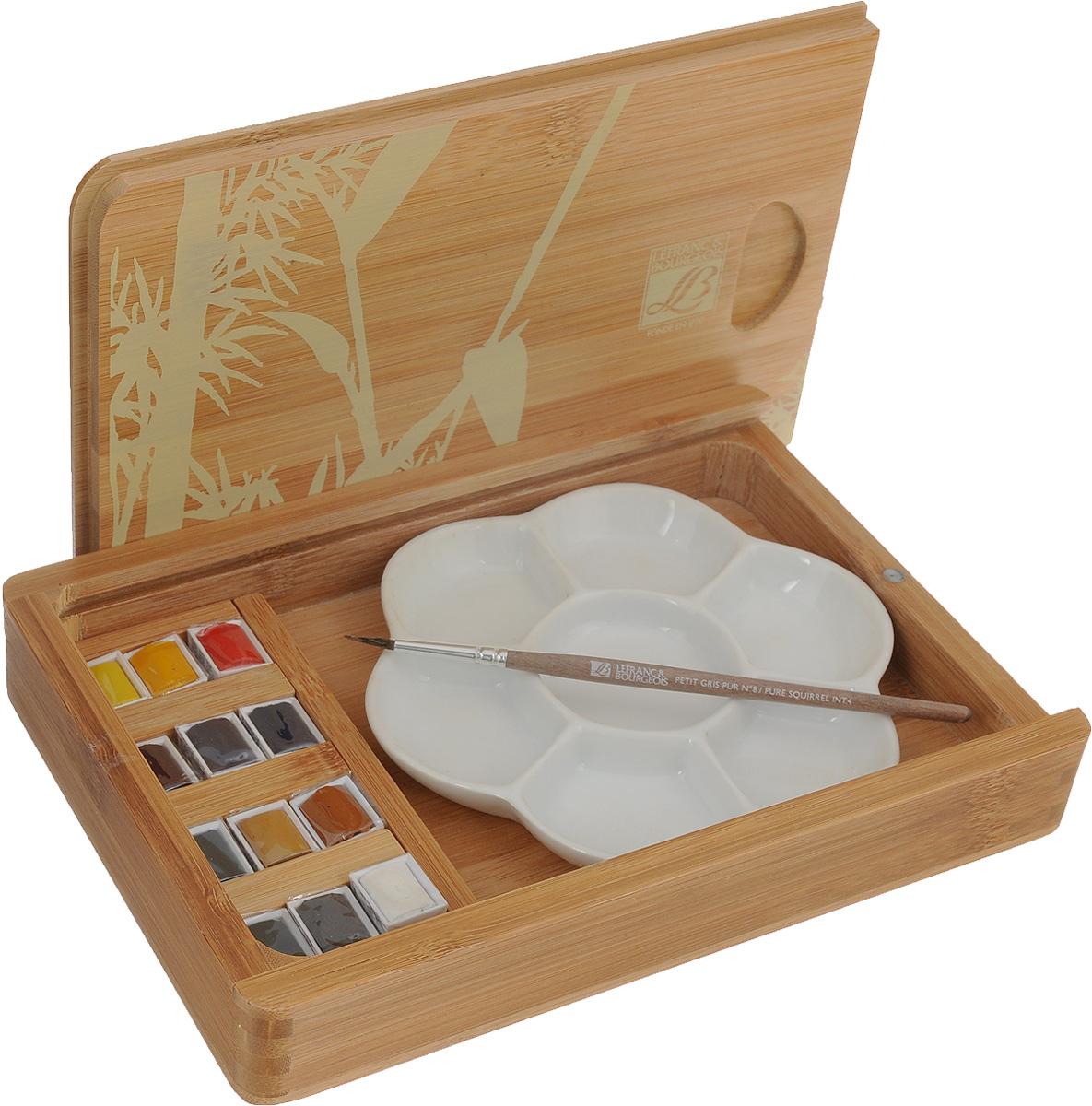 Набор акварельных красок Lefranc & Bourgeois Fine, в бамбуковом кейсе, 15 предметовLF601662Набор акварельных красок Lefranc & Bourgeois Fine состоит из 12 кюветов разныхцветов в бамбуковом кейсе, кисточки и керамической палитры. Данная форма акварели эффективна в работе над небольшимикартинами, а также на пленэре при выполнении набросков.