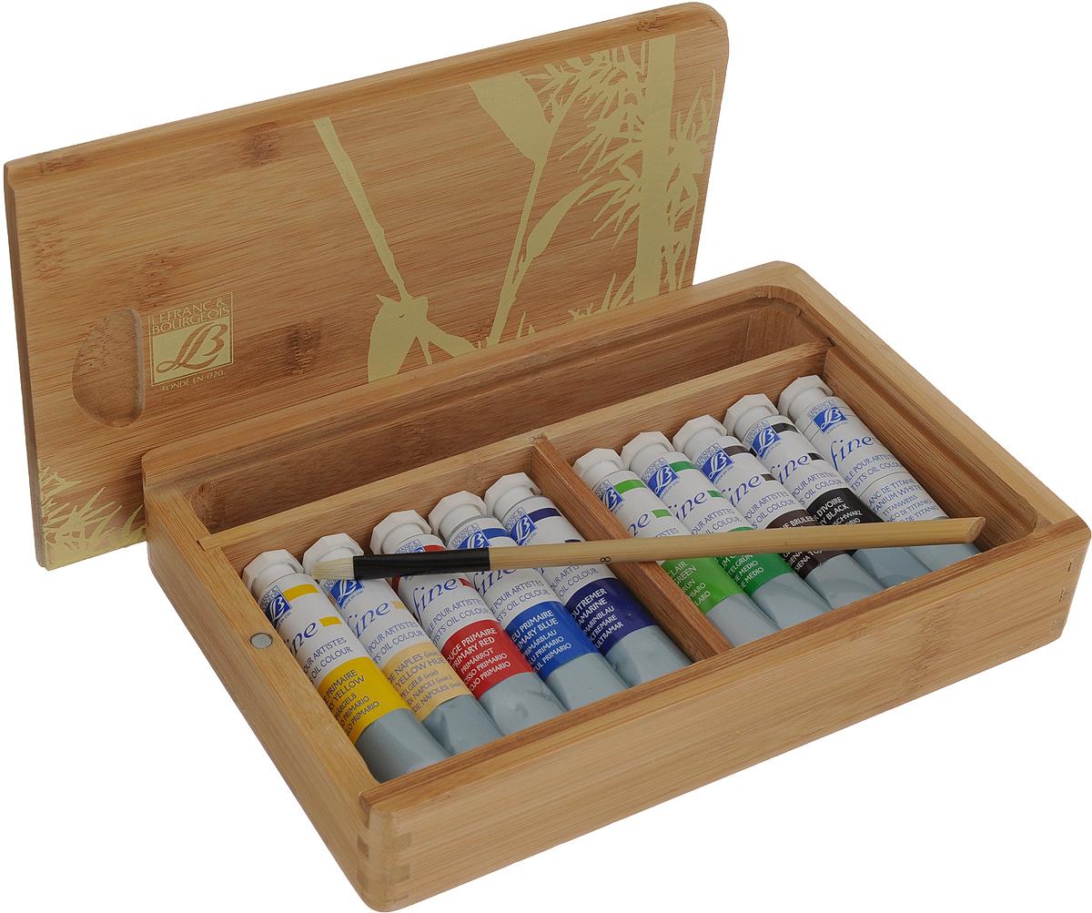 Набор масляных красок Lefranc & Bourgeois Fine, в бамбуковом кейсе, 12 предметовLF106154Набор Ferrario Lefranc & Bourgeois Fine включает 10 тюбиков масляных красок разных цветов и 2 кисти №6, №8. Для хранения предметов набора предусмотрен бамбуковый кейс. Масляные краски рекомендуется использовать на холсте, картоне, бумаге и дереве. Основой масляных красок служат натуральные пигменты и хороший связующий материал, что создает удивительную чистоту цветов и оттенков, которая не теряется даже при смешивании. Краски обладают отличной светостойкостью, имеют повышенное содержание и отличное качество натуральных и синтетических пигментов. Такой набор станет замечательным подарком для художника. Объем тюбиков с красками: 20 мл. Длина кистей: 19 см, 20 см. Размер кейса: 23 х 15,5 х 4 см.