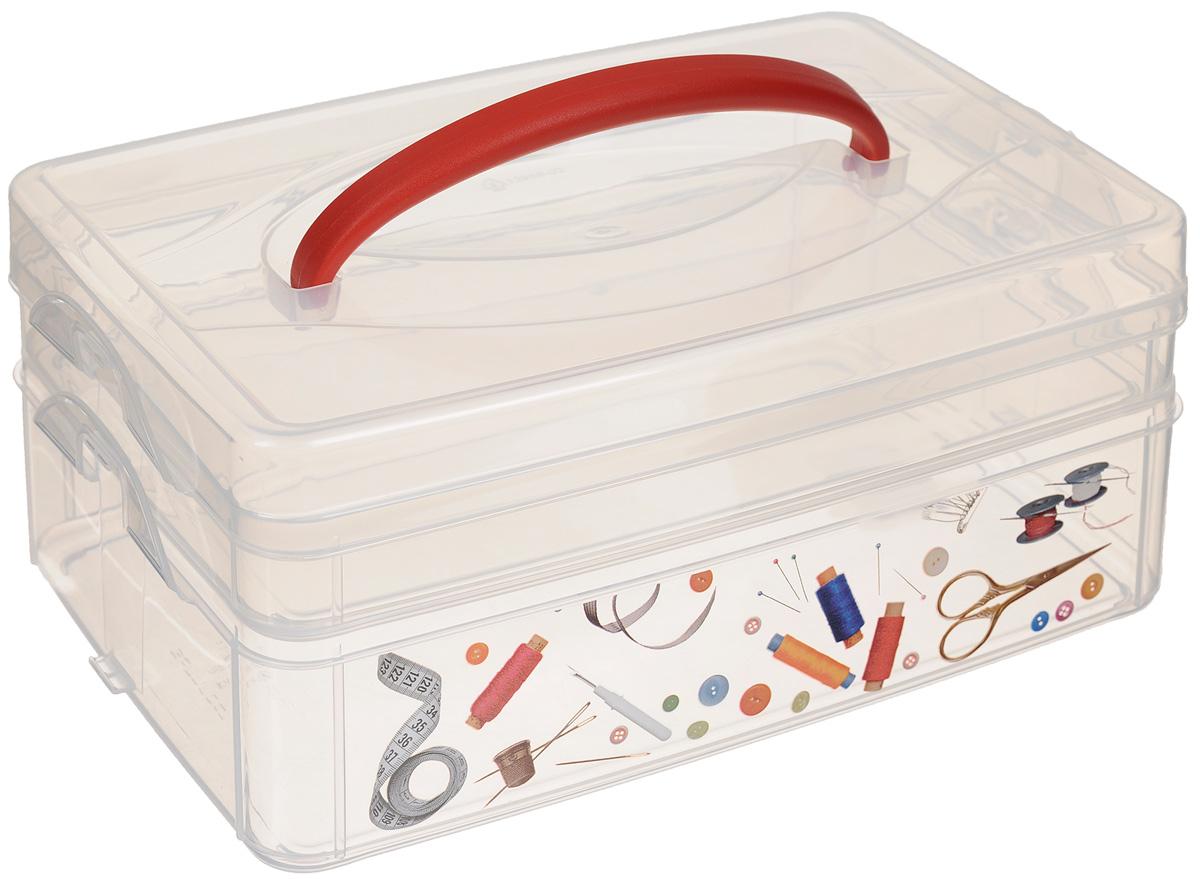 Контейнер для мелочей Econova Multi Box, с ручкой, 2 секции, 24,5 х 16 х 10,5 см, новый дизайн tv box a2 2 16 dgmedia