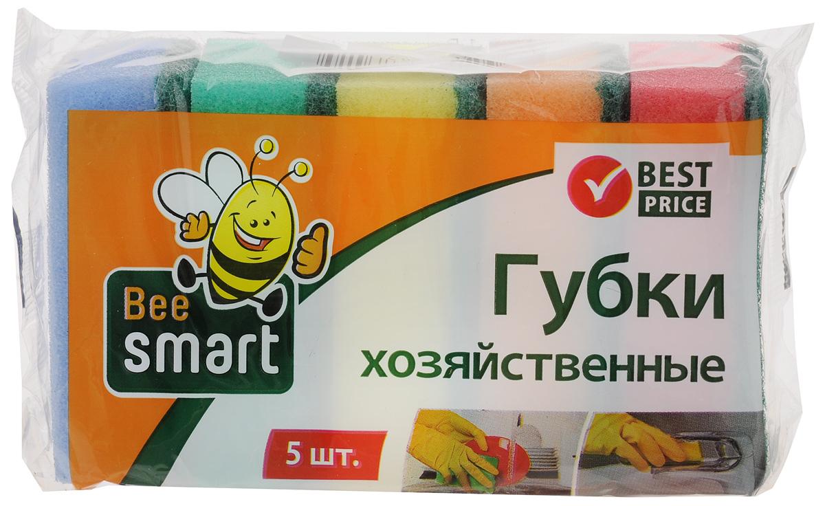 Губки для мытья посуды Beesmart, 5 шт409007Чистит основательно и бережно, хорошо впитывает жидкость, позволяет расходовать минимальное количество чистящих средств.