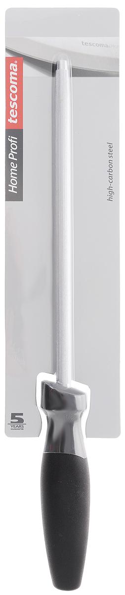 """Мусат Tescoma """"Home Profi"""" выполнен из специальной точильной стали  с высоким содержанием углерода. Эргономичная ручка изготовлена из прочной пластмассы. Изделие специально создано для затачивания ножей серии """"Home Profi"""", однако прекрасно подходит для любых ножей с гладким лезвием. Мусат выравнивает режущую кромку клинка и увеличивает остроту лезвия. Нельзя мыть в посудомоечной машине. Общая длина мусата: 32 см. Длина рабочей части мусата: 22 см."""