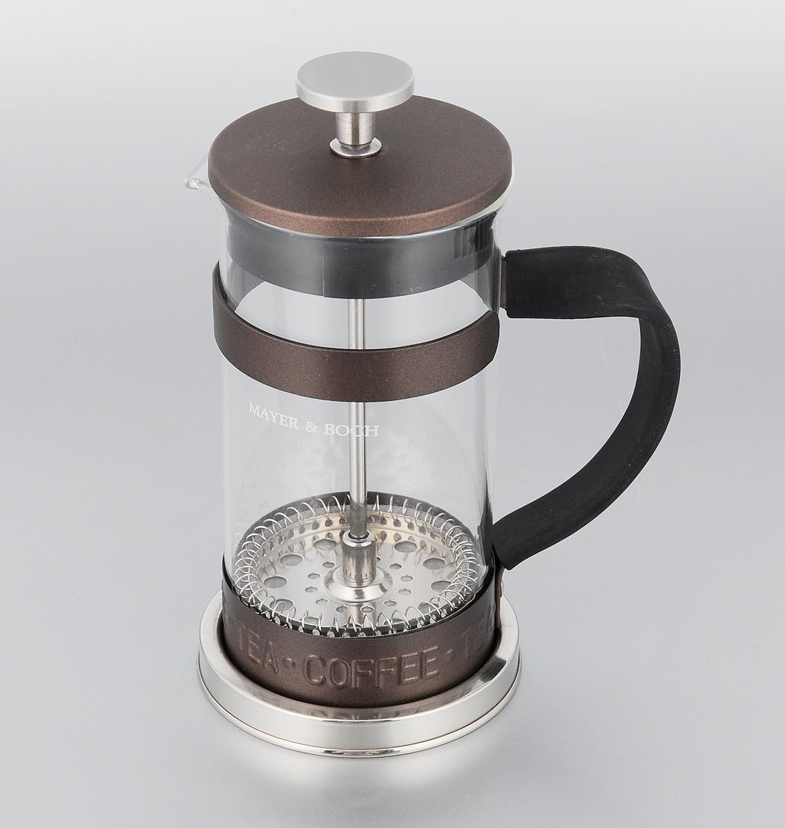 Френч-пресс Mayer & Boch, цвет: прозрачный, коричневый, 350 мл. 2491224912_коичневыйФренч-пресс Mayer & Boch изготовлен из высококачественной нержавеющей стали и жаропрочного стекла. Фильтр-поршень оснащен ситечком для обеспечения равномерной циркуляции воды. Засыпая чайную заварку или кофе под фильтр, заливая горячей водой, вы получаете ароматный напиток с оптимальной крепостью и насыщенностью. Остановить процесс заваривания легко, для этого нужно просто опустить поршень вниз, оставляя напиток, готовый к употреблению. Изделие оснащено эргономичной прорезиненной ручкой, она обеспечит безопасный и удобный хват. Такой френч-пресс позволит быстро и просто приготовить свежий и ароматный кофе или чай. Можно мыть в посудомоечной машине.Не использовать в микроволновой печи.Диаметр колбы (по верхнему краю): 7,5 см. Высота френч-пресса (без учета крышки): 14,5 см.Высота френч-пресса (с учетом крышки): 17,5 см.