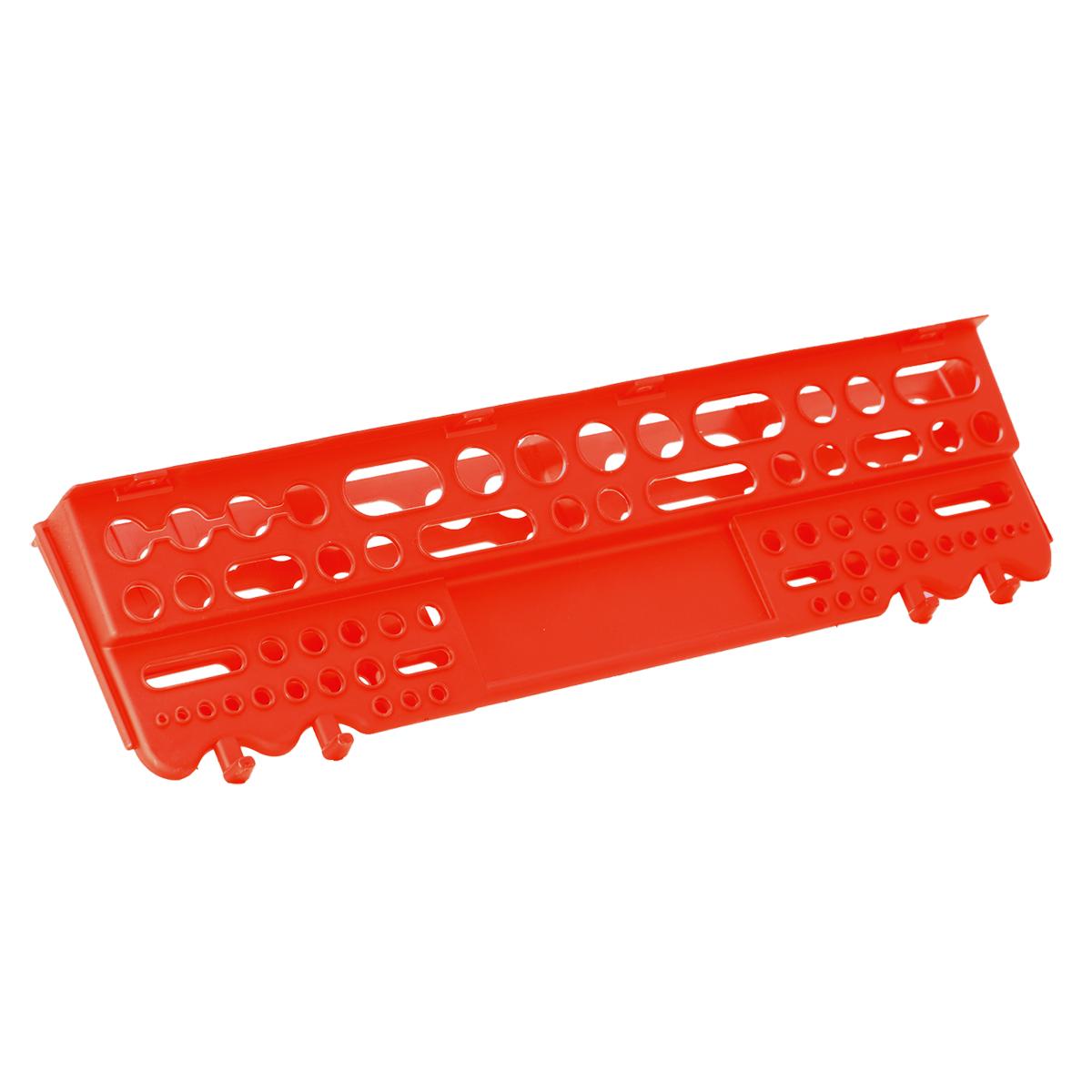 Полка для инструмента Blocker Reef, цвет: красный, 625 х 168 х 74 ммПЦ3670КРПолка для инструмента Blocker Reef выполнена из полипропилена. Прочная конструкция полки позволяет аккуратно разместить весь инструмент рядом с рабочим местом в гараже, мастерской или дома. Надежное крепление на стену выдерживает полную загрузку всех ячеек полки.
