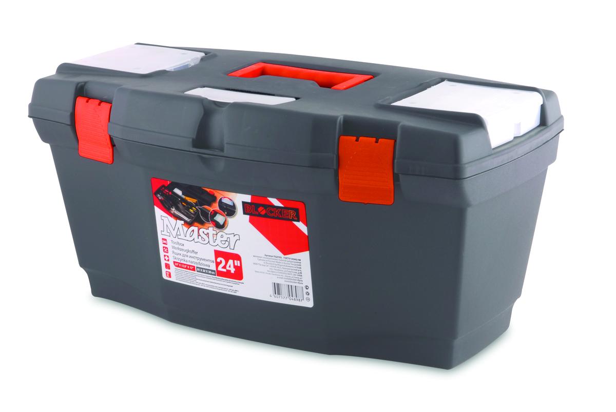 Ящик для инструментов Blocker Master, цвет: серый, оранжевый, 610 х 320 х 300 ммПЦ3703СРСВИНЦЯщик Blocker Master предназначен для хранения инструмента и других хозяйственных нужд. Классическая форма, внутренний лоток для эффективной организации хранения. Блоки для мелочей на крышке идеально подходят для размещения мелких скобяных изделий. Надежные замки позволяют безопасно переносить ящик с большой загрузкой. Отверстие для крепления навесного замка позволит защитить инструмент при транспортировке.