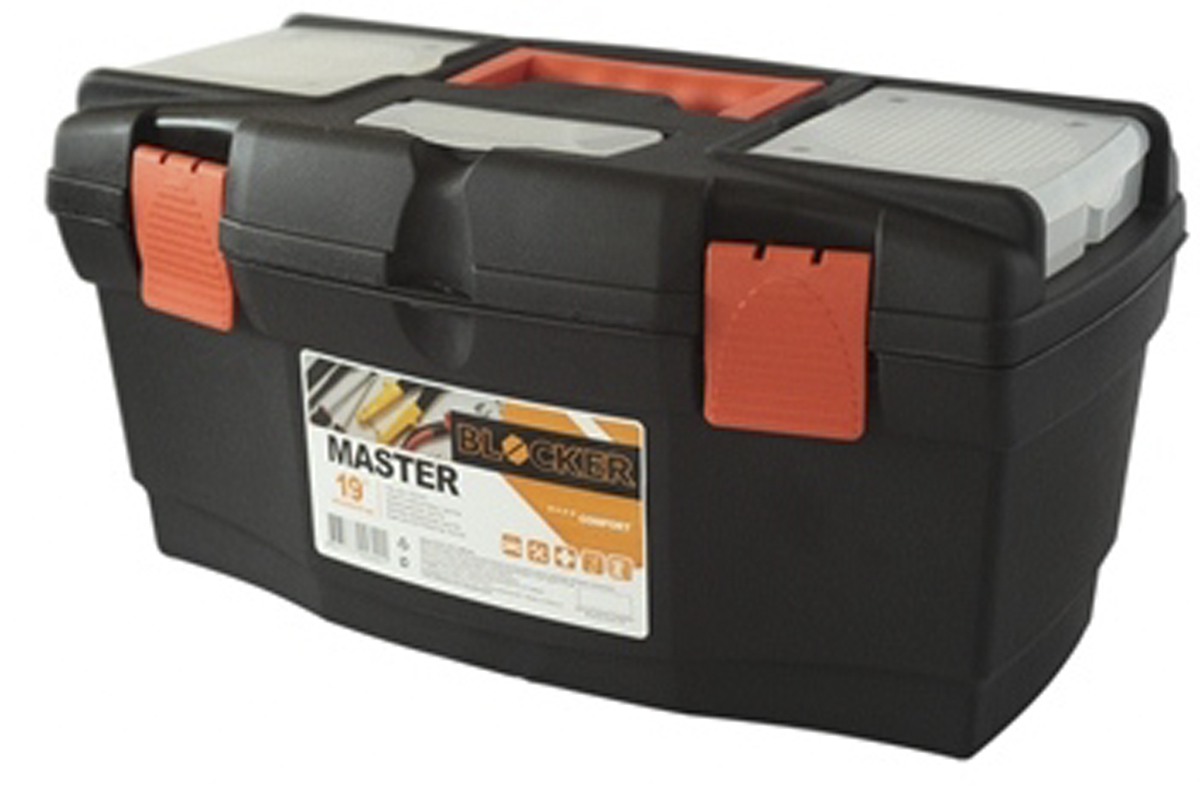 Ящик для инструментов Blocker Master, цвет: черный, оранжевый, 485 х 250 х 245 ммПЦ3702/НЧРОРЯщик Blocker Master предназначен для хранения инструмента и других хозяйственных нужд. Классическая форма, внутренний лоток для эффективной организации хранения. Блоки для мелочей на крышке идеально подходят для размещения мелких скобяных изделий. Надежные замки позволяют безопасно переносить ящик с большой загрузкой. Отверстие для крепления навесного замка позволит защитить инструмент при транспортировке.