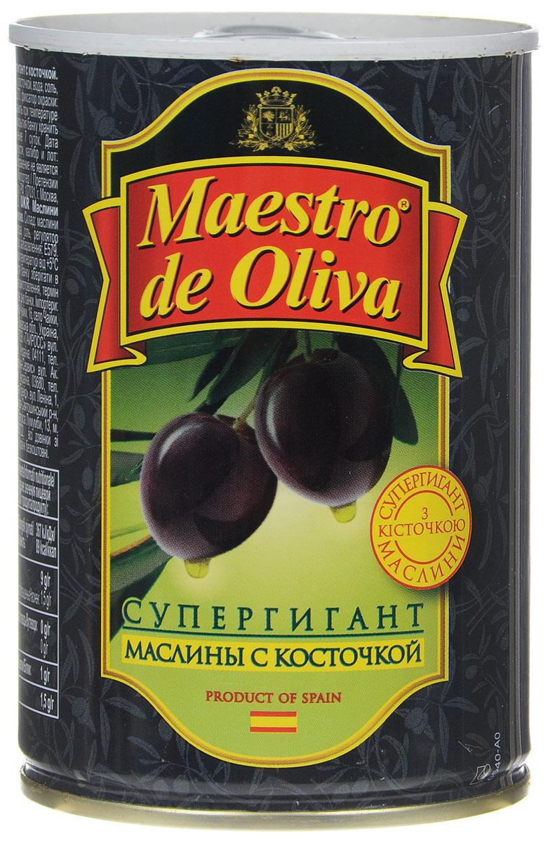 Maestro de Oliva маслины супергигант с косточкой, 425 г ideal маслины с косточкой extra class 300 г