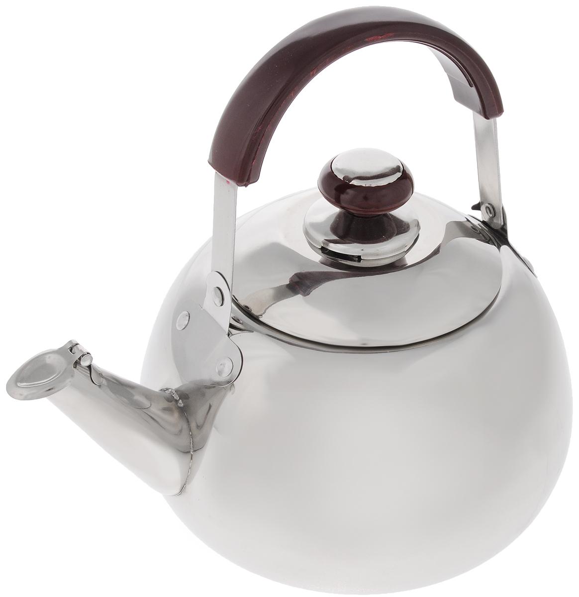 Чайник Mayer & Boch, со свистком, 3 л. 25232523Чайник Mayer & Boch изготовлен из высококачественной нержавеющей стали. Он оснащен подвижной ручкой из стали и бакелитовой накладкой, что делает использование чайника очень удобным и безопасным. Крышка снабжена свистком, позволяя контролировать процесс подогрева или кипячения воды. Капсулированное дно с прослойкой из алюминия обеспечивает наилучшее распределение тепла. Эстетичный и функциональный, с эксклюзивным дизайном, чайник будет оригинально смотреться в любом интерьере.Подходит для стеклокерамических, газовых и электрических плит. Не подходит для индукционных плит. Можно мыть в посудомоечной машине.Высота чайника (без учета ручки и крышки): 11,5 см.Высота чайника (с учетом ручки и крышки): 23,5 см.Диаметр чайника (по верхнему краю): 11 см.
