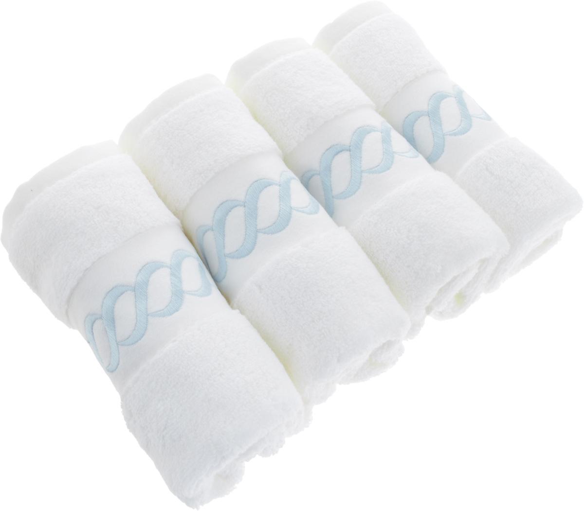 Набор махровых полотенец Issimo Home Pauline, цвет: белый, голубой, 30 x 50 см, 4 шт4728Набор полотенец Issimo Home Pauline выполнен из натуральной махровой ткани (100% хлопок). Изделия отлично впитывают влагу, быстро сохнут и не теряют форму даже после многократных стирок. Рекомендации по уходу:- режим стирки при 40°C,- допускается обычная химчистка,- отбеливание запрещено,- глажка при температуре подошвы утюга до 110°С,- барабанный отжим запрещен.Размер полотенца: 30 x 50 см.