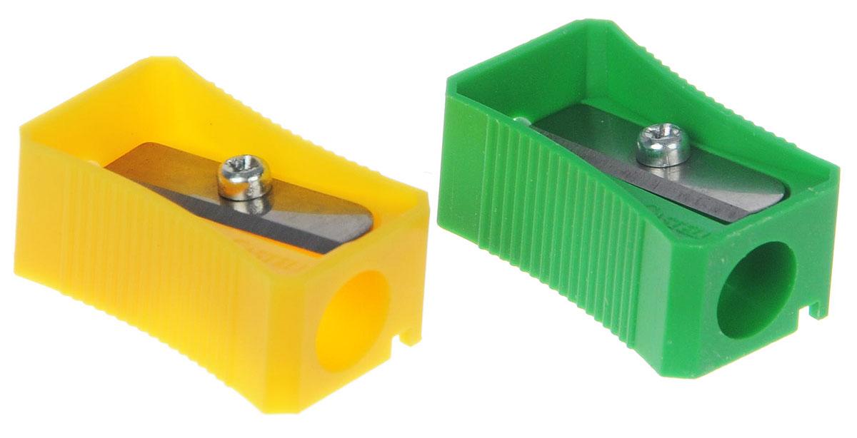 Faber-Castell Точилка цвет зеленый желтый 2 шт263221_зеленый, желтыйТочилка Faber-Castell предназначена для затачивания классических простых и цветных карандашей.В наборе две точилки из прочного пластика зеленого и розового цветов с рифленой областью захвата. Острые лезвия обеспечивают высококачественную и точную заточку деревянных карандашей.