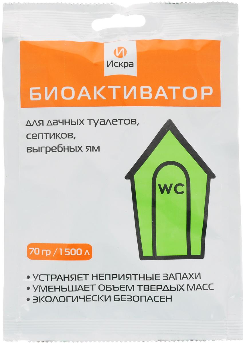 Биоактиватор Искра, 70 гБА-70Биоактиватор - это биологическое средство, способное в короткие сроки полностью провести очистку дачного туалета, септика или выгребной ямы от отходов жизнедеятельности человека. Продукт разработан на основе почвенных бактерий, без добавления химических веществ . Свойства ; Эффективно разлагает фекальные массы, жиры . Ументшает обьем твердых масс . Устраняет неприятные запахи . Способствует сохранению сантехнического оборудования . Экологически безопасен для людей, животных, растений.