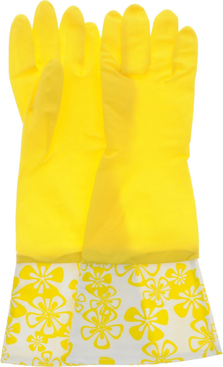 Перчатки Paclan, с хлопковым напылением и удлиненной манжетой, цвет: желтый.Размер М407128_желтый