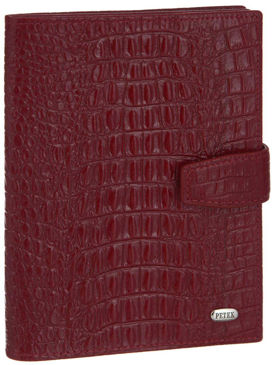 Обложка для паспорта и автодокументов Petek 1855, цвет: бордовый. 595.067.10Натуральная кожаОбложка для паспорта и автодокументов Petek 1855 выполнена из натуральнойвысококачественной кожи с тиснением под крокодила. Внутри имеет отделение для паспорта,два сетчатых боковых кармана и съемный блок из шести прозрачных файлов из мягкого пластика,один из которых формата А5. Обложка закрывается на хлястик с кнопкой.Обложка упакованав фирменную коробку. Изделие сочетает в себе классический дизайн и функциональность. Обложка не только поможетсохранить внешний вид ваших документов и защитит их от повреждений, но и станет стильнымаксессуаром, который подчеркнет ваш неповторимый стиль.