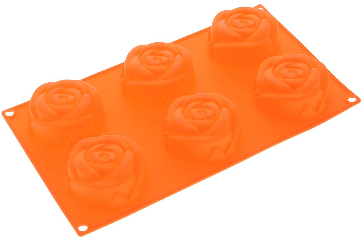 Форма для выпечки Mayer & Boch Розы, силиконовая, цвет: оранжевый, 6 ячеек21978Форма Mayer & Boch Розы, выполненная из силикона, будет отличным выбором для всех любителей домашней выпечки. Форма имеет 6 ячеек в виде роз. Материал устойчив к фруктовым кислотам, может быть использован в духовках и микроволновых печах (выдерживает температуру от -40°С до +250°С). Порадуйте своих родных и близких любимой выпечкой в необычном исполнении.Размер ячейки: 7 х 7 х 3 см.