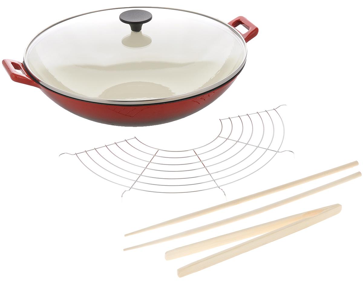 Сковорода-вок чугунная Mayer & Boch с крышкой, с эмалированным покрытием, с палочками, решеткой-гриль и щипцами. Диаметр 36,5 см сковороды mayer boch сковорода