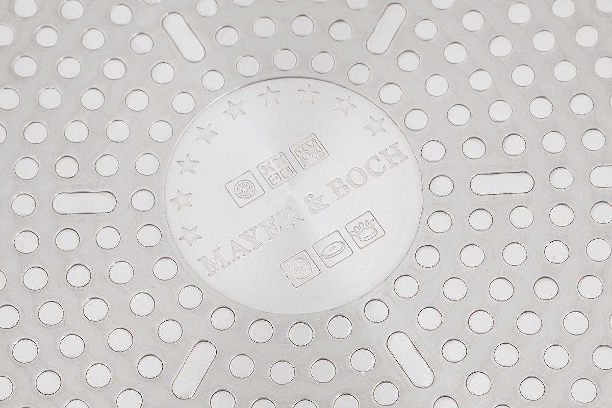 """Сковорода """"Mayer & Boch"""" выполнена из литого  алюминия с  антипригарным покрытием особой прочности  Titanium Granit и  мраморной крошкой. Такое покрытие жаропрочное,  защищает  сковороду от царапин, экологически чистое и  полностью  безопасное, без вредных соединений и примесей.  Благодаря  высокой теплопроводности алюминия, посуда  распределяет  тепло по всей поверхности, экономя время и  энергию.  Рифленое дно позволяет готовить с минимальным  количеством масла или без него. Эргономичная  ручка из  бакелита не нагревается и не скользит, а крышка из  прозрачного стекла с отверстием для вывода пара  позволит  следить за процессом приготовления еды.  Подходит для всех типов плит, включая  индукционных. Можно  мыть в посудомоечной машине.   Диаметр сковороды по верхнему краю: 24 см. Высота стенки: 6 см.  Длина ручки: 18,5 см."""