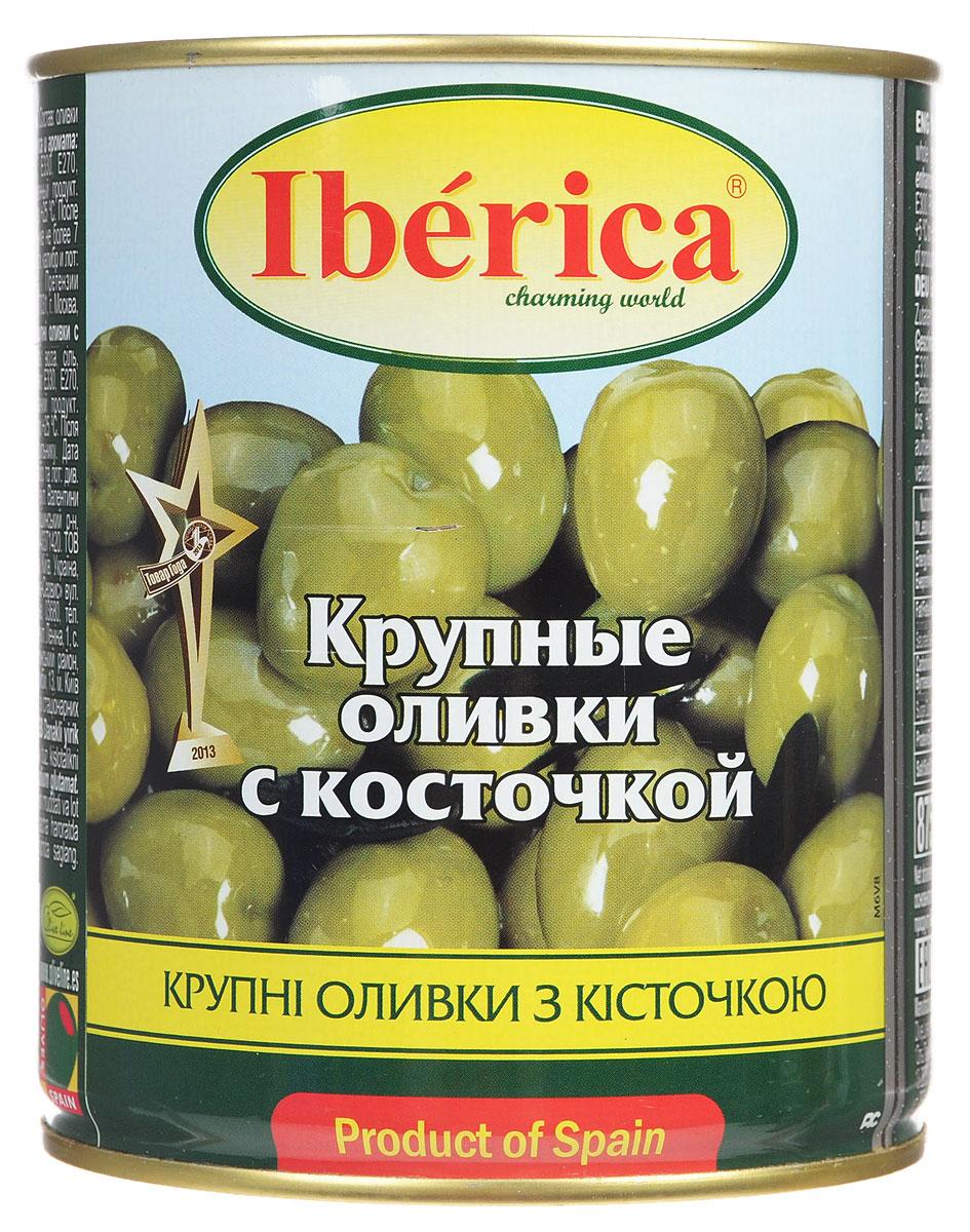 Iberica оливки крупные с косточкой, 875 г guerola оливки изумрудные кампо реаль с косточкой 770 г