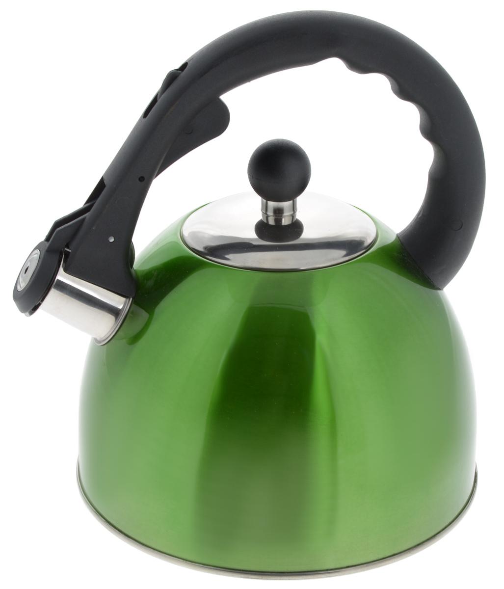 Чайник Mayer & Boch, со свистком, цвет: зеленый, 2,5 л. 2319823198_зеленыйЧайник Mayer & Boch изготовлен из высококачественной нержавеющей стали с трехслойным термоаккумулирующим дном, которое позволяет быстро распределять и долго удерживать тепло. Носик чайника оснащен откидным свистком, звуковой сигнал которого подскажет, когда закипит вода. Свисток открывается нажатием кнопки на ручке. Чайник снабжен эргономичной ручкой, выполненной из термостойкого нейлона. Чайник Mayer & Boch - качественное исполнение и стильное решение для вашей кухни. Подходит для использования на всех типах плит, кроме индукционной. Также изделие можно мыть в посудомоечной машине.Высота чайника (без учета ручки и крышки): 13,5 см.Диаметр основания чайника: 19 см.Диаметр чайника (по верхнему краю): 9 см.
