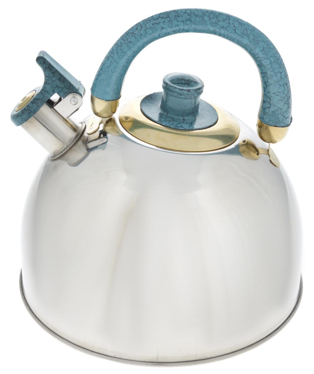 Чайник Mayer & Boch, со свистком, цвет: серо-голубой, серебристый, 5,5 л. 2044020440_серо-голубой, серебристыйЧайник Mayer & Boch выполнен из высококачественной нержавеющей стали, что делает его весьма гигиеничным и устойчивым к износу при длительном использовании. Капсулированное дно с прослойкой из алюминия обеспечивает наилучшее распределение тепла. Носик чайника оснащен насадкой-свистком, что позволит вам контролировать процесс подогрева или кипячения воды. Подвижная ручка, изготовленная из бакелита, делает использование чайника очень удобным и безопасным. Поверхность чайника гладкая, что облегчает уход за ним. Эстетичный и функциональный, с эксклюзивным дизайном, чайник будет оригинально смотреться в любом интерьере.Подходит для газовых, электрических, стеклокерамических и галогеновых плит. Не подходит для индукционных плит. Можно мыть в посудомоечной машине.Высота чайника (без учета ручки и крышки): 13,5 см.Высота чайника (с учетом ручки и крышки): 24,5 см.Диаметр чайника (по верхнему краю): 9 см.