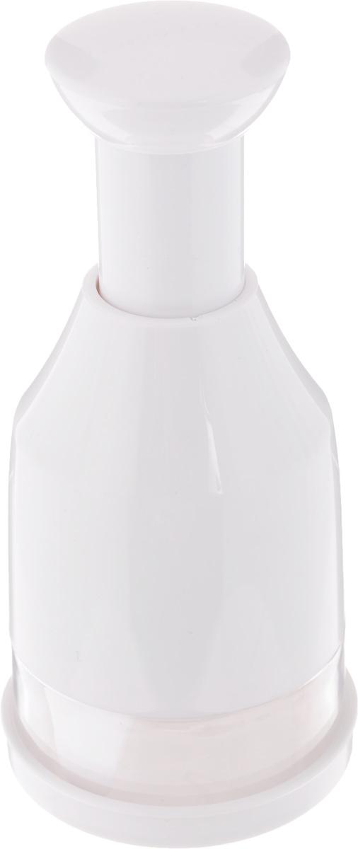 Измельчитель-чоппер Tescoma Handy643556Измельчитель-чоппер Tescoma Handy выполнен из прочного пластика, лезвия - из высококачественной нержавеющей стали.Отлично подходит для мелкой, быстрой, простой и безопасной нарезки чеснока, лука, корнеплодов, фруктов, орехов, шоколада.Высота: 16 см.Диаметр основания: 7 см.