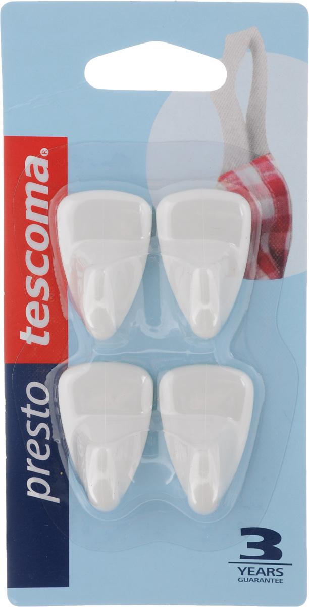 """Набор крючков Tescoma """"Presto"""", выполненный из высококачественного пластика, идеально подходит для кухни и ванной комнаты. Для крепления изделий не требуется сверления, шурупов и гвоздей. Просто удалите защитную фольгу с крючка и приложите его к чистой поверхности и зафиксируйте нажатием. Крепятся к кафелю, стеклу, пластмассе и другим гладким поверхностям. Размер крючка: 3 х 2 х 1,5 см.Комплектация: 4 шт."""