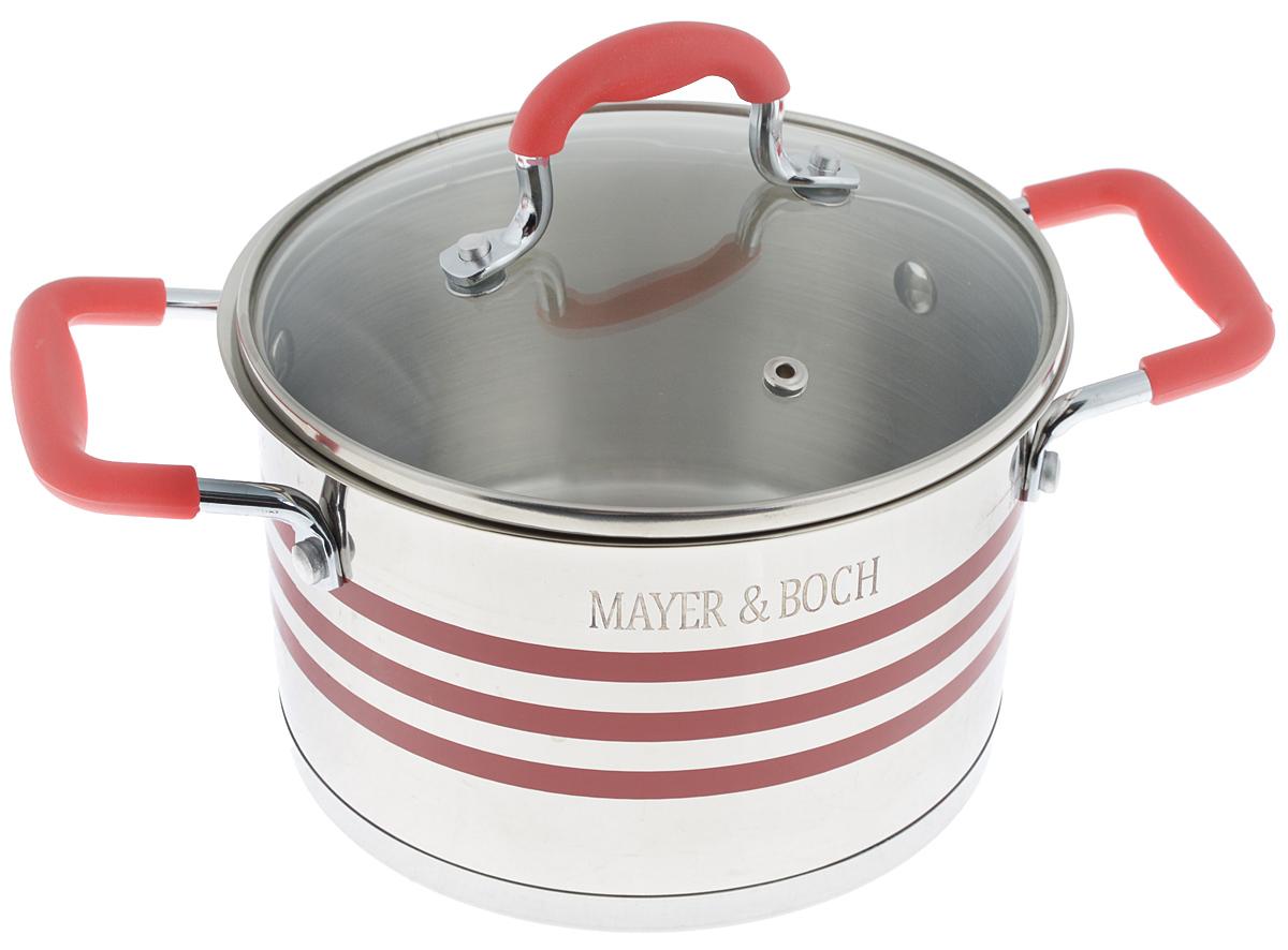 Кастрюля Mayer & Boch с крышкой, цвет: стальной, красный, 2 л24044Кастрюля Mayer & Boch изготовлена из высококачественной нержавеющей стали 18/10, которая придает ей привлекательный внешний вид, обеспечивает легкую очистку и долговечность. Многослойное термоаккумулирующее дно с прослойкой из алюминия обеспечивает наилучшее распределение и сохранение тепла. Кастрюля идеально подходит для здорового и экологичного приготовления пищи, а также диетических блюд. Ручки оснащены силиконовыми накладками, поэтому не перегреваются во время приготовления пищи. Крышка, выполненная из термостойкого стекла, позволяет следить за процессом приготовления пищи. Она оснащена отверстием для выхода пара и металлическим ободом. Форма кромки кастрюли предотвращает проливание жидкости, а благодаря правильности линий кромки в комбинации с крышкой, обеспечивается максимальная герметизация между ними. Яркий дизайн этой кастрюли придется по вкусу даже самой требовательной хозяйке. Подходит для всех типов плит, включая индукционные. Можно мыть в посудомоечной машине.Диаметр кастрюли (по верхнему краю): 16 см.Ширина кастрюли (с учетом ручек): 26 см.Высота стенки: 10,5 см.