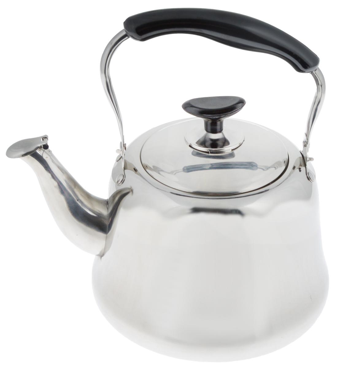 """Чайник """"Mayer & Boch"""" изготовлен из высококачественной  нержавеющей стали. Он оснащен подвижной ручкой из бакелита, что делает  использование чайника очень  удобным и безопасным. Крышка снабжена свистком, позволяя  контролировать процесс подогрева или кипячения воды.  Капсулированное дно с прослойкой из алюминия обеспечивает  наилучшее распределение тепла.  Эстетичный и функциональный, с эксклюзивным дизайном, чайник  будет оригинально смотреться в любом интерьере.   Подходит для стеклокерамических, газовых и электрических плит. Высота чайника (без учета ручки и крышки): 13,5 см. Высота чайника (с учетом ручки и крышки): 26 см. Диаметр чайника (по верхнему краю): 11 см."""