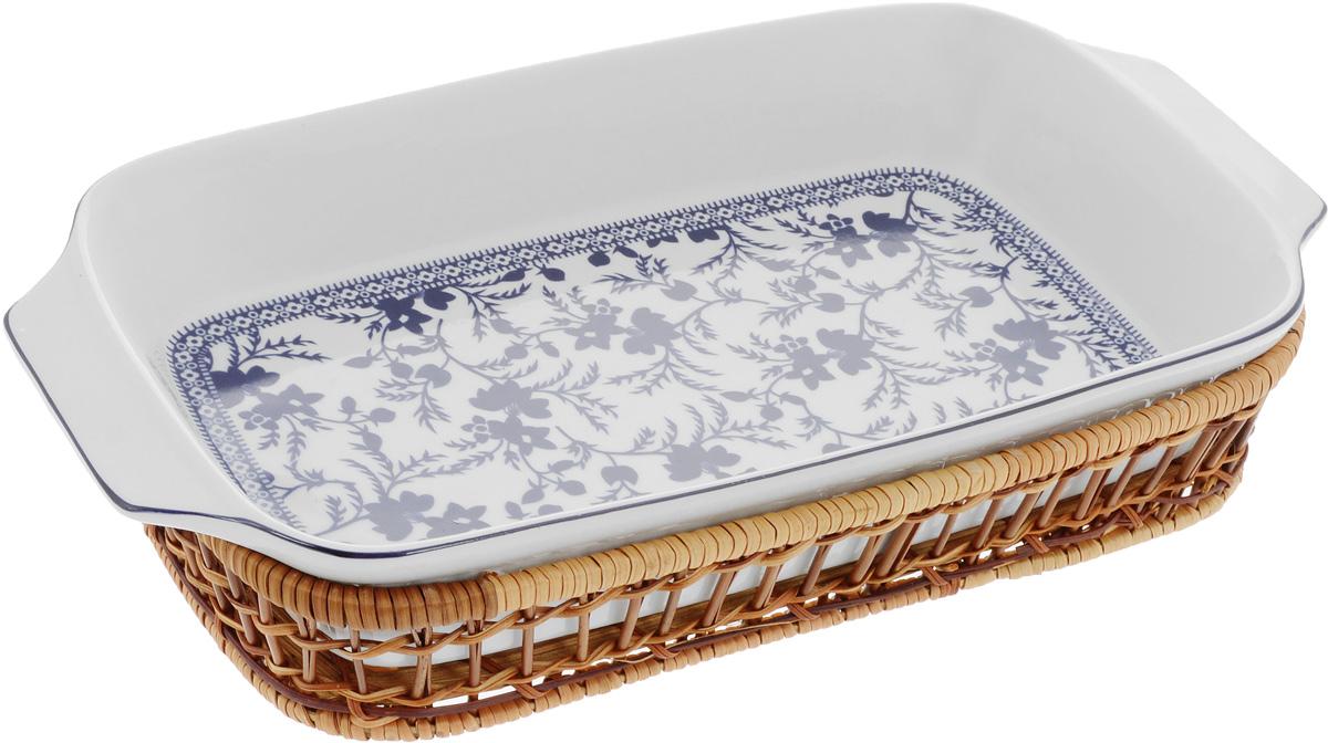 Форма для запекания Mayer & Boch Узор, прямоугольная, с корзиной, 35,5 х 18 х 5 см24803Прямоугольная форма Mayer & Boch Узор,выполненная из высококачественного фарфорабелого цвета, оформлена красочнымизображением цветочных узоров.Плетеная из ротанга корзина, в которую вставляетсяформа, послужит красивой и оригинальной подставкой.Фарфоровая посуда выдерживает высокие перепадытемпературы, поэтому ее можно использовать в духовке,микроволновой печи, а также для хранения пищи вхолодильнике.Можно мыть в посудомоечной машине.Форма для запекания Mayer & Boch Узорпрекрасно подойдет для приготовления овощей,мяса и других блюд, а оригинальный дизайн ияркое оформление украсят ваш стол. Размер формы (с учетом ручек): 35,5 х 18 х 5 см.Размер корзинки: 32 х 19,6 х 5,7 см.