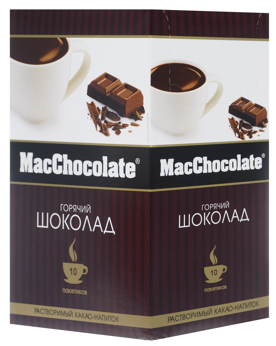 MacChocolate горячий шоколад, 10 шт8887290102148MacChocolate - это растворимый горячий шоколад высокого качества, который содержит натуральный какао-порошок и отличается насыщенным вкусом и ароматом.Окунитесь в водоворот простых удовольствий с MacChocolate! Изготовленный из вкуснейшего какао в идеальных пропорциях с сахаром и сливками, MacChocolate с классическим вкусом – это лучшее, что вы можете приготовить за пару секунд!
