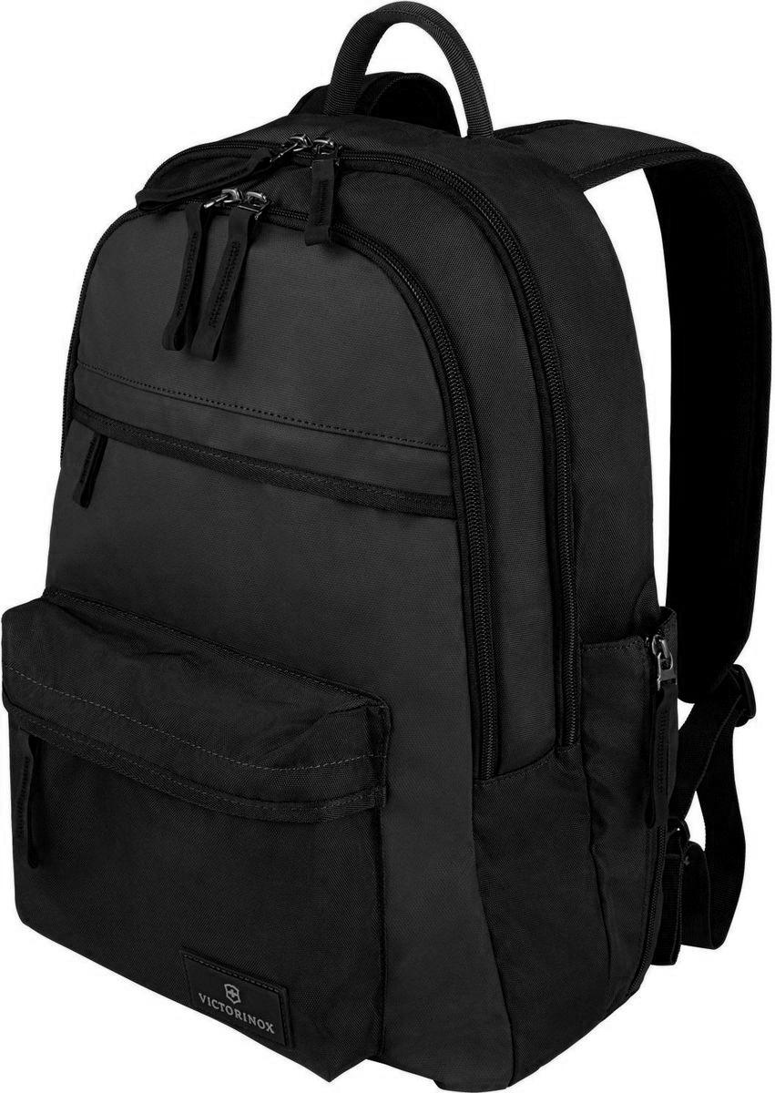 Рюкзак Victorinox Altmont 3.0 Standard Backpack, цвет: черный. 3238840132388401Индивидуальность - это то, что отличает вас от любого другого человека, с которым вы сталкиваетесь на улице, в поезде, с которым вы общаетесь в городе. Каждый день вашей жизни - это уникальный опыт, который никогда больше не повторится. Коллекция Victorinux Altmont 3.0 создавалась с расчетом на индивидуальность. Неважно носите ли вы рюкзак, сумку-мессенджер или повседневную сумку - в коллекции Altmont 3.0 есть богатый выбор аксессуаров такой же многогранный, как и ваш индивидуальный стиль. Для вас просто не существуют такой вещи как обычный день, и также как и вы, данная коллекция справится с любой ситуацией. Прототип модели прошел целых 30 основательных и строгих испытаний, в ходе которых проводилась симуляция самых экстремальных сценариев и условий внешней среды, возможных в реальной жизни. Жесткий режим проводимых тестов гарантирует точность, прочность и износоустойчивость, т. е. все признаки высокого качества и эксплуатационных характеристик, которые покупатель ожидает от продукции Victorinox. Далее каждое изделие проходит тщательный контроль сертифицированным техническим специалистом. Рюкзак Victorinox Altmont 3.0 Standard Backpack изготовлен из прочного нейлона и подойдет на все случаи жизни.Характеристики и свойства:Внутренняя часть имеет двойные сетчатые карманы и двойные карманы для хранения вещей.Внешняя часть имеет два передних кармана на молнии и запатентованный боковой карман, идеально подходящий для бутылки воды или зонтика.Мягкая задняя стенка и регулируемые плечевые ремни для максимального комфорта.Крепкая ткань корпуса Versatek™ на износостойкой нейлоновой основе плотностью 1680D.