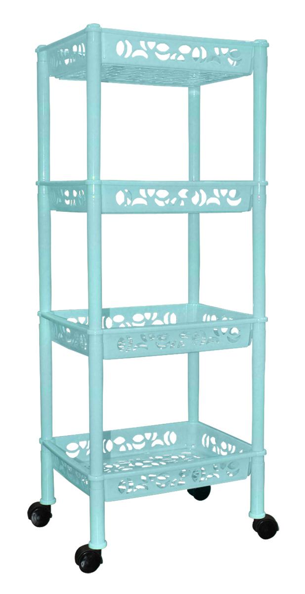 Этажерка BranQ Prima, прямоугольная, 4 секции, цвет: бирюзовый, 370 х 290 х 935 ммBQ2827БРЗ_мЭтажерка Blocker Prima идеально подходит для ванной комнаты, кухни или прихожей. Этажерка оснащена колесиками для удобства передвижения. Вместительные полки применяются для хранения большого количества хозяйственных мелочей. Этажерка имеет оригинальный дизайн, она легкая и практичная.