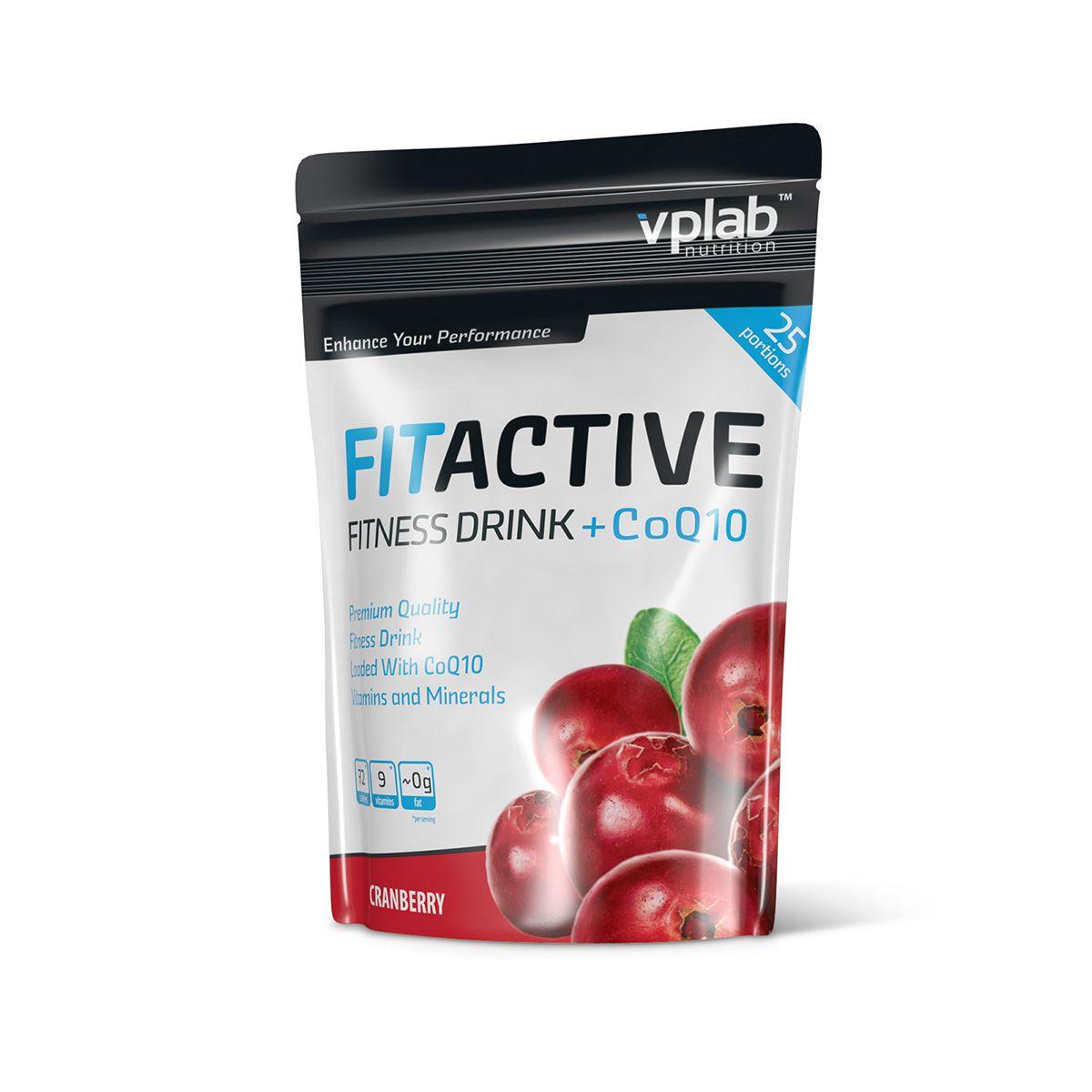 "Изотоник VPLab ""FitActive Fitness Drink +CoQ10"", клюква, 500 г, VP Laboratory"