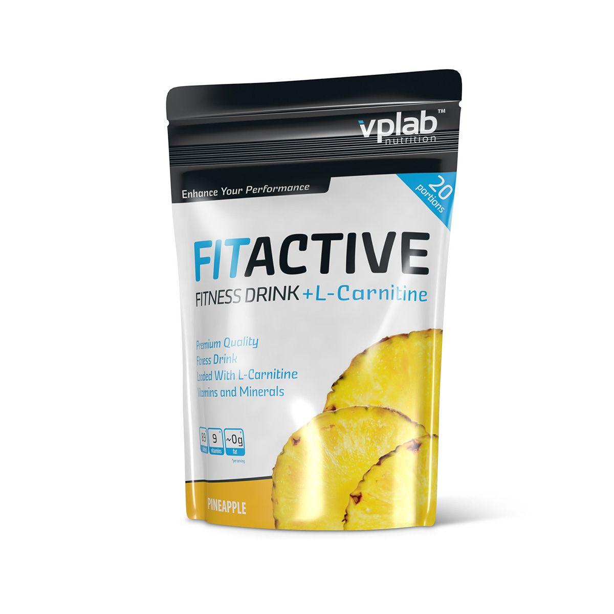 Карнитин VPLab FitActive Fitness Drink + L-Carnitine, ананас, 500 г напиток mychoice nutrition my fitness l carnitine 2700 shot клубника 9 x 60 мл