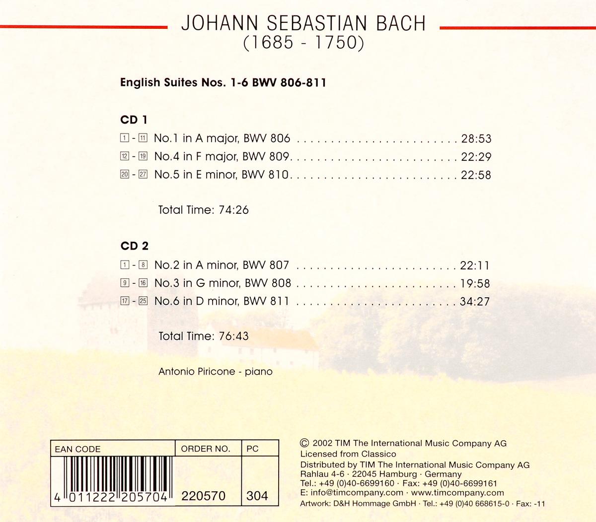 Scandinavian Classics.  Antonio Piricone.  Johann Sebastian Bach.  The Complete English Suites (2 CD) TIM The International Music Company AG,Волтэкс-инвест