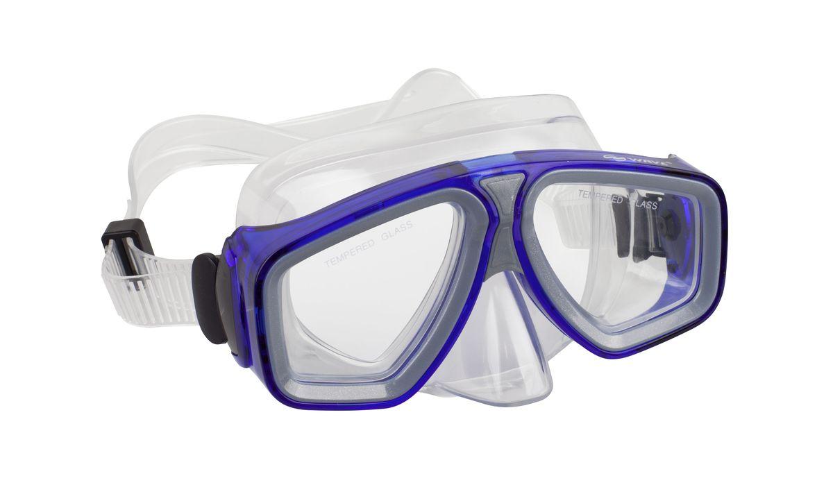 Маска для плавания WAVE, цвет: голубой. M-1314M-1314Маска для плавания WAVE имеет низкопрофильный дизайн и широкий угол обзора практически на 180 градусов (увеличение периферического зрения)Линзы из закаленного стеклаДвухслойный обтюратор маски из гипоалергенного мягкого пластика, препятствует проникновению воды внутрь маскиРегулируемый пластиковый ремешок, препятствует скольжениюМатериал: пластик (PVC) Ширина оправы маски: 15,4 x 7,5 x 9 см