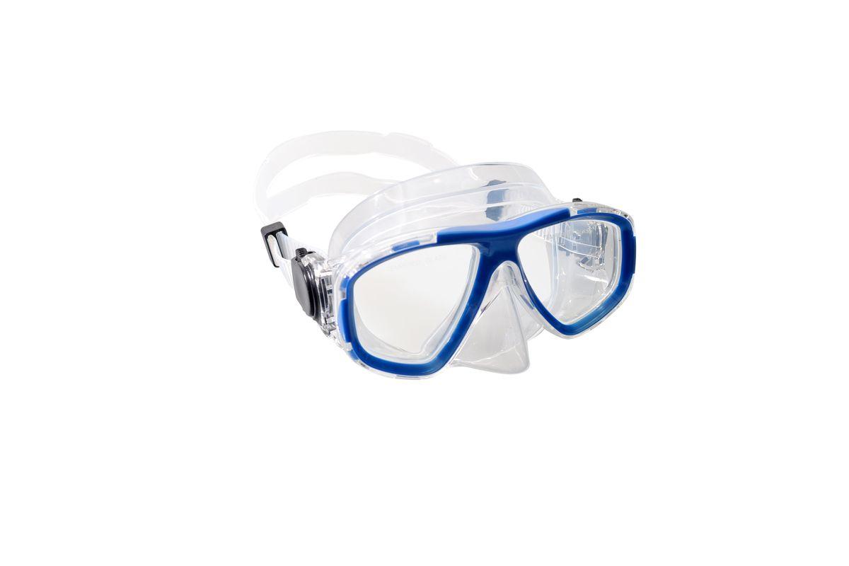 Маска для плавания WAVE, цвет: синий, прозрачный. M-1359M-1359Маска для плавания WAVE имеет классический дизайн и широкий угол обзора. Линзы выполнены из закаленного стекла. Двухслойный обтюратор маски изготовлен из поликарбоната и гипоаллергенного силикона, который препятствует проникновению воды внутрь маски.Регулируемый силиконовый ремешок, препятствует скольжению. Маска подходит для водных видов спорта и дайвинга. Размер оправы маски:15,6 x 8 x 11 см.