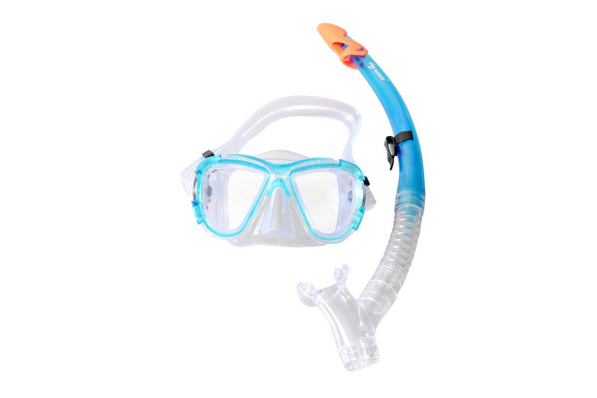 Комплект для плавания WAVE: маска, трубка, возраст 15-18 лет, цвет: голубой. MS-1311S58
