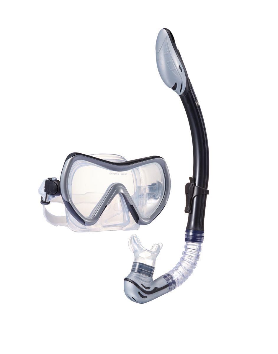 Комплект для плавания WAVE: маска, трубка, цвет: серый. MS-1370S71 очки маски и трубки для плавания intex маска авиатор для плавания 55911