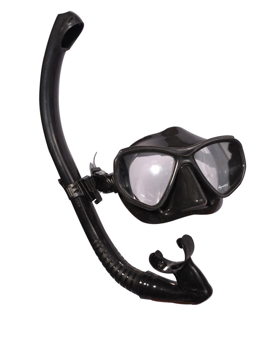 Комплект для плавания WAVE: маска, трубка, цвет: черный. MS-1383S60 очки маски и трубки для плавания intex маска авиатор для плавания 55911