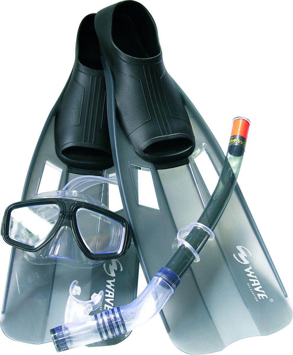 Комплект для плавания WAVE: маска, трубка, ласты, цвет: черный. Размер 42-44. MSF-1314S6F35MSF-1314S6F35_(42-44)Комплект для плавания WAVE - профессиональная линия В комплект для плавания входят: маска, трубка, ласты. Размер 38-39Маска: классический дизайн, широкий угол обзора. Линзы из закаленного стекла. Обтюратор маски из гипоалергенного силикона, препятствует проникновению воды внутрь маски. Регулируемый силиконовый ремешок, препятствует скольжениюТрубка: мягкий эластичный силиконовый загубник закреплен под идеальным углом. Силиконовый клапан для продувки трубки от воды Ласты с закрытой пяткой: сверхлегкий вес увеличивает эффективность гребка. Дренажные отверстия уменьшают сопротивление. Улучшенная форма калоши обеспечивает комфорт для любой ноги. Выполнены из высококачественного термопластичного эластомера (ТРЕ). Срок службы гораздо дольше чем у резины. Длина трубки: 41 см